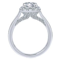 14k White Gold Entwined Style  Halo Engagement Ring