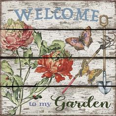 Jean Plout 'Country Garden' Canvas Art – 14 x 14 - Modern Wooden Garden Planters, Flower Planters, Artist Canvas, Canvas Art, Lawn Edging, Garden Signs, Red Flowers, Garden Art, Dream Garden
