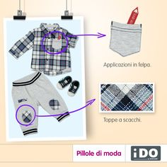 Per i piccolissimi: camicia con simpatiche applicazioni in felpa e pantaloni con toppe a scacchi... un look pratico e divertente per giocare in tutta libertà!