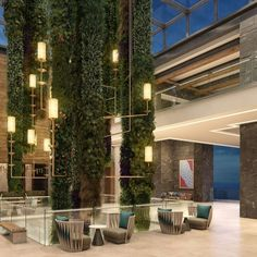 The lobby with hanging garden at Haven Riviera Cancun.