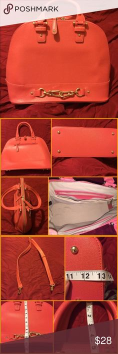 """JustFab Coral Gramercy Bag NWOT Coral """"Gramercy"""" handbag from JustFab. NWOT! Bag is faux leather and is beautiful. Inside is nice & clean. It's never been used. However, on two parts of the bag the threading frayed a little on arrival. This is VERY MINOR and is barely noticeable (see pic) I just want to be honest about my items. Bag also comes with an adjustable strap to make it a shoulder or maybe even a cross body. JustFab Bags Shoulder Bags"""