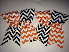Halloween Chevron Cheer Bow. Your cheerleader will look festive in this orange, black, and white chevron cheer bow. This is a tick tock style bow.