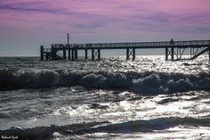 L'estacade en contre-jour marée haute
