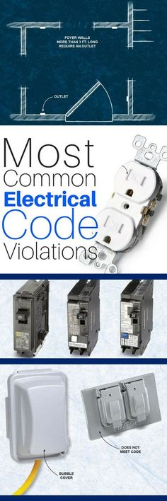 The 8 Most Common National Electric Code Violations DIYers Make These are the electrical codes DIYers (and pros) mess up most often. Many problems stem from new additions to the National Electrical Code (NEC), while some common mistakes violate codes that Electrical Inspection, Home Electrical Wiring, Electrical Code, Electrical Projects, Residential Electrical, Electrical Engineering, National Electric, House Wiring, Electric House