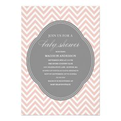 A classy pink and gray chevron baby shower invitation | Created by FINEandDANDY