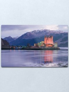 """""""Eilean Donan Castle on a winter evening in the Highlands of Scotland , Eilean Donan Castle is one of the finest Scottish castles for photography"""" Metal Print by goldyart Eilean Donan, Scottish Castles, Highlands, Scotland, Print Design, David, Wall Art, Metal, Winter"""