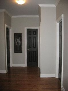 Light grey walls, white trim, and black doors-nice combo