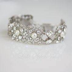 Art Deco Wedding Bracelet, Bridal Bracelet , Filigree Bridal Cuff, Swarovski Crystal Wedding Jewelry, AIRLEY.