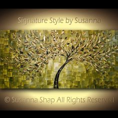 ORIGINAL Large Abstract Gold Olive Green Tree Painting Textured Modern Palette Knife Art  by Susanna 48x24. $375.00, via Etsy.