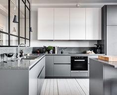 15 Extraordinary Minimalist Kitchen Cabinet Design Ideas For A Comfortable Kitchen - Scandinavian Kitchen Cabinets, Minimalist Kitchen Cabinets, Modern Kitchen Cabinets, Kitchen Cabinet Design, Kitchen Interior, Kitchen Decor, Gray Cabinets, Kitchen Industrial, Diy Kitchen