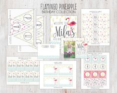 Flamingo Pineapple Birthday Party Package  Printable by deanworks