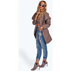 Boohoo Abigail Waterfall Coat ($37) ❤ liked on Polyvore featuring outerwear, coats, mocha, drape coat, lapel coat, waist belt, wrap coat and waterfall coat