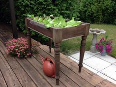 DIY Network's Made+Remade blog shows you how to make a salad table using an upcycled table >> http://www.diynetwork.com/made-and-remade/make-it/elevate-your-salad--make-a-raised-bed-lettuce-table?soc=pinterest