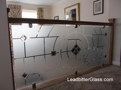 In late 2012 Leadbitter Glass was approached by Mr & Mrs Markham from Leighton Buzzard to come up with a selection of designs suitable for a room divider for their Balcony Glass Design, Balcony Grill Design, Balcony Railing Design, Glass Railing, Glass Etching Designs, Glass Painting Designs, Frosted Glass Design, Frosted Glass Door, Pooja Room Door Design