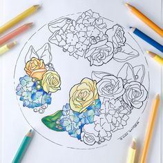 Roses and Hydrangeas Flower Wreath Cake Coloring Page for Adults Hand Drawn Line Art by Olga Zaytseva, Instant Download by OlgaZaytsevaArt on Etsy