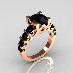 Modern Vintage 14K Rose Gold 20 Carat Black Diamond by artmasters, $1049.00