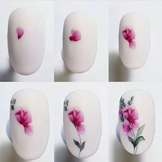 45 Nail Designs Step By Step - Nail design is an art. The great nail designer has completed a large number of nail art designs. Flower Nail Designs, Flower Nail Art, Gel Nail Designs, Heart Nail Art, Heart Nails, Water Color Nails, Manicure Y Pedicure, Girls Nails, Nail Art Galleries