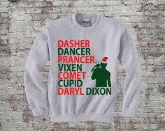 Reindeer Names Daryl Dixon Christmas TWD - Daryl Dixon Sweater- Grey 562 on Etsy, $28.00