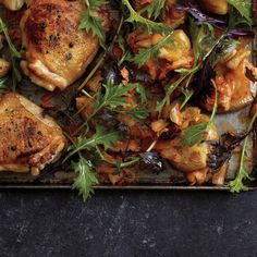 Jarred kimchi delivers flavor and color in this roast chicken dish.