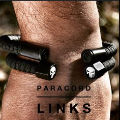Here it is, our Punisher 2.0 badass wrist gear along with our brand new blacked out 40 cal ammo casing. Not available in our online store yet, but you get sneak peak right here. Always the Best! www.paracordlinks.com