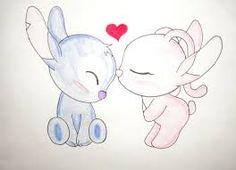 Resultado de imagen de dibujos de stitch y su novia a lapiz