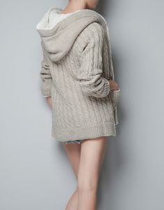Knitwear - TRF - ZARA. Fleece-lined cable knit cardigan. For hibernating ;)