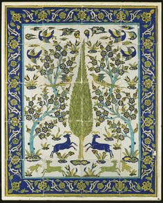 A Safavid Cuerda Seca Tile Panel, Persia, 18th Century