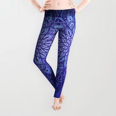 Dark Mandala in Indigo Blue Yoga Leggings by Kelly Dietrich