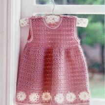 Pink Baby Dress with White Flowers free crochet graph pattern Crochet Bebe, Baby Girl Crochet, Crochet Baby Clothes, Crochet For Kids, Knit Crochet, Crochet Children, Crochet Baby Outfits, Booties Crochet, Crochet Dresses
