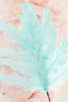 Aqua curly feather