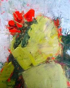 Abstract Prickly Pear Cactus in Bloom Original Oil Painting Desert Botanical Red Green Cactus Flower Desert Art Small Botanical Painting SFA
