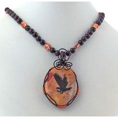 Jasper Eagle Spirit Totem Pendant Rainbow Obsidian Copper Necklace (99 AUD) ❤ liked on Polyvore featuring jewelry, necklaces, totem necklace, eagle pendant, enhancer pendant, clear pendant and clear crystal pendant