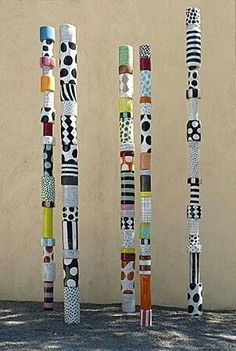 (Totem made of cans) russell public art/sculpture inspiration. Could have the group make a group totem with 1 can painted by each student; or support network/family/important relationships totem*~bcp