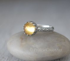Citrine Ring Sterling Silver - Rise Cut Citrine Gemstone Ring - November Birthstone Ring - Yellow Topaz Color Gemstone Ring