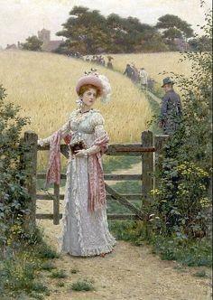 """Walking to Church"" by Edmund Blair Leighton"