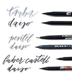 Daiso dupes for branded brush pens.   Branded pens from top to bottom: Tombow dual brush, Pentel fude touch sign pen & Faber-Castell PITT artist brush pen.