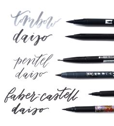 Daiso dupes for branded brush pens. Branded pens from top to bottom: Tombow dual brush, Pentel fude touch sign pen & Faber-Castell PITT artist brush pen.