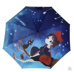 2014 Hayao miyazaki Umbrella Majo no takkyubin Folding Painting Umbrella Kiki ghibli Black Cat Parasol Umbrella Freeshipping