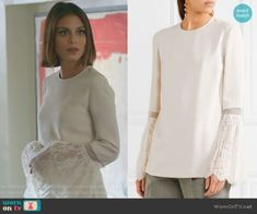 Cristal Flores wears this white crepe Stella McCartney top on Dynasty 1x08