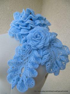 CROCHET SCARFLETTE SCARF, Made to order, Blue Pastel Romantic Ruffle Scarf with Crochet Rose Flower, Cyprus Crochet Lyubava. $49.99, via Etsy.