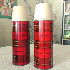 A great addition to your retro kitchen or your vintage camper trailer!! Perfect for display in kitchen, camper, or cabin, or to take camping. They keep your cold things cold or your hot things hot! These two pint-sized Thermos bottles have great vintage style, in the iconic red