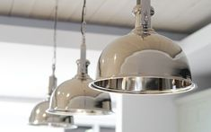 Imperial nickel pendant light - line the pendant lights in a row above kitchen island for a striking effect. Fluorescent Kitchen Lights, Kitchen Recessed Lighting, Rustic Kitchen Lighting, Kitchen Ceiling Lights, Kitchen Island Lighting, Interior Lighting, Home Lighting, Table Lighting, Interior Ideas