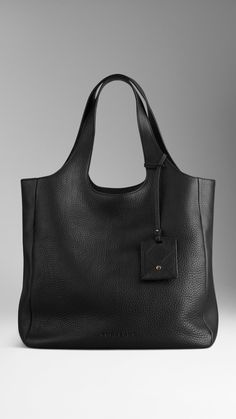 Grainy Leather Shopper   Burberry