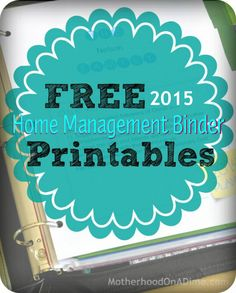 Free printable 2015 Home Management Binder