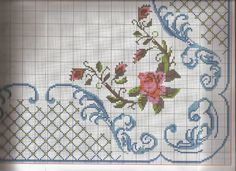 Vintage Embroidered Tablecloth and 11 Napkins Cross Stitch Rose, Cross Stitch Borders, Cross Stitch Flowers, Cross Stitching, Cross Stitch Embroidery, Cross Stitch Patterns, Vintage Cross Stitches, Crochet Cross, Embroidery Patterns Free