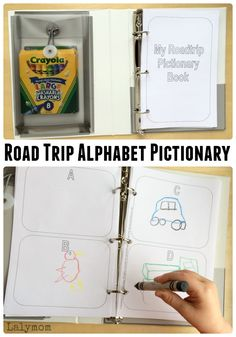 DIY Road Trip Games for Kids - Free Printable Alphabet Pictionary and Other Travel friendly activities from the Busy Bags Blog Hop - these would be perfect for a family vacation!