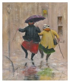 'Lively Ladies' Giclee Canvas / Des Brophy