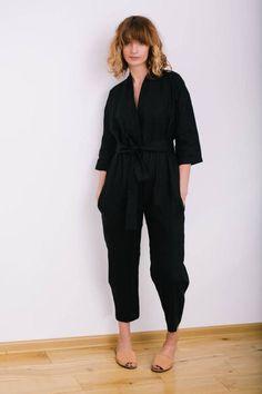 Black Jumpsuit - Kimono Jumpsuit - Linen Jumpsuit - Kimono Linen Jumpsuit -  Women Overall - Linen Overall - Linen Romper - Handmade by OFFON 053e79c1cf