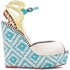 Sophia Webster Lula Aztec Leather Wedges ($473) ❤ liked on Polyvore featuring shoes, sandals, wedges, heels, sapatos, wedge sandals, platform sandals, wedge heel shoes, leather sandals and wedges shoes