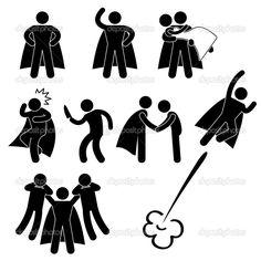 Un conjunto de pictogramas que representan superhéroe